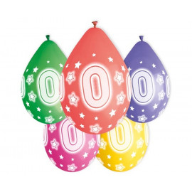 Závěsný balonek č.0, 33cm, pastel mix, bal.5ks
