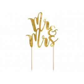 Dortový zápich Mr Mrs, 25,5cm, zlatý, 1ks