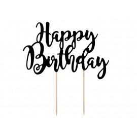 Dortový zápich Happy Birthday černý, 1ks, 22,5cm