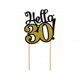 Dortový zápich Hello30,10x19cm