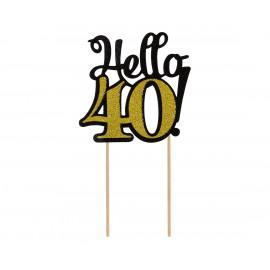 Dortový zápich Hello40,10x19cm
