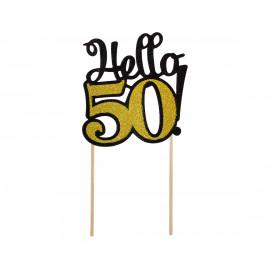 Dortový zápich Hello50,10x19cm