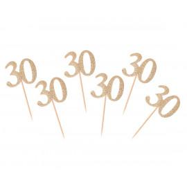 Dortová párátka 30gold, 6ks,10cm
