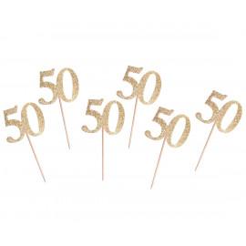 Dortová párátka 50gold, 6ks,10cm