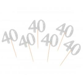 Dortová párátka 40silver, 6ks,10cm