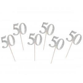 Dortová párátka 50silver, 6ks,10cm