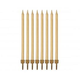 Narozeninové svíčky s držákem, gold 10cm, 8ks