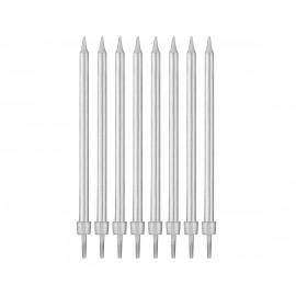Narozeninové svíčky s držákem, silver 10cm, 8ks