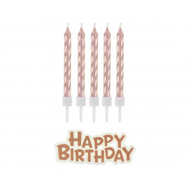 Narozeninové svíčky Happy Birthday,rose/gold,16ks