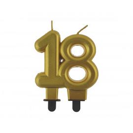 Narozeninová svíčka 18BC digit gold metalic, 8cm