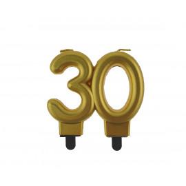 Narozeninová svíčka 30BC digit gold metalic, 8cm