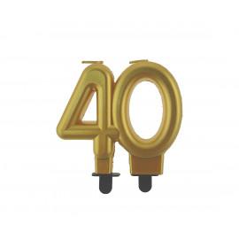 Narozeninová svíčka 40BC digit gold metalic, 8cm