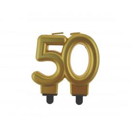 Narozeninová svíčka 50BC digit gold metalic, 8cm