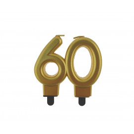 Narozeninová svíčka 60BC digit gold metalic, 8cm