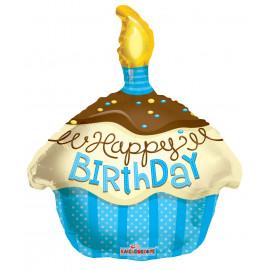 Balónek foliový 46cm - CUPCAKE modrý