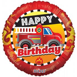 Balon foliový 46cm BIRTHDAY hasičský vůz