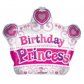 Balon foliový Koruna 46cm BIRTHDAY princezna
