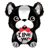 Balón foliový 46cm - Francouzský buldoček I Love You