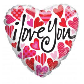 Balon foliový Srdce 46cm I love you