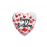 Balon foliový Srdce 46cm - Narozeninové srdíčka