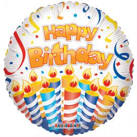 Balon foliový 46cm - HAPPY BIRTHDAY - dort a svíčky