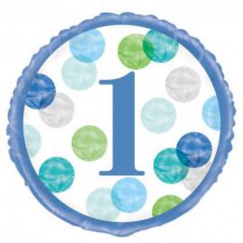 Balon foliový 46cm - 1. narozeniny modré puntíky