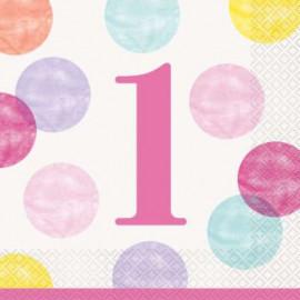 Papírové ubrousky - 1. narozeniny růžové puntíky, 16ks