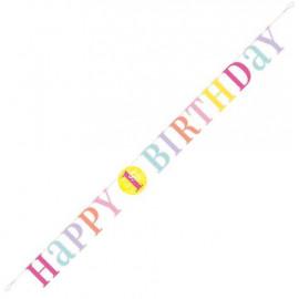 """Girlanda """"1. narozeniny"""" růžové 1.83m"""