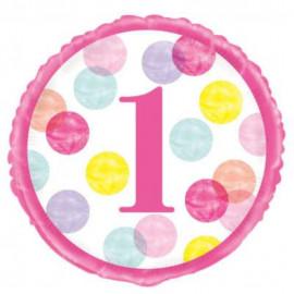 Balón foliový 1. narozeniny růžový s puntíky - 45 cm