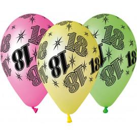 Latexové balonky Mix neonový č.18 5ks