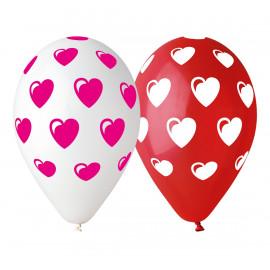 Latexové balonky se Srdíčky 5ks 30cm