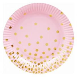 Papírové talíře růžové se zlatými tečkami 18cm,6ks
