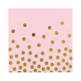 Papírové ubrousky růžové se zlatými tečkami 33x33cm,12ks