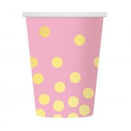 Papírové kelímky růžové se zlatými tečkami,270ml,6ks