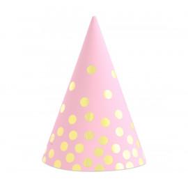 Papírové kloboučky růžové se zlatými tečkami,6ks