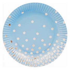 Papírové talíře modré se zlatými tečkami 18cm,6ks