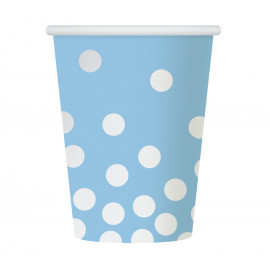 Papírové kelímky modré se zlatými tečkami,270ml,6ks