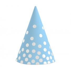 Papírové kloboučky modré se zlatými tečkami,6ks