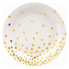 Papírové talíře bílé se zlatými tečkami 18cm,6ks