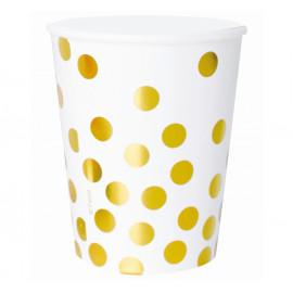 Papírové kelímky bílé se zlatými tečkami,270ml,6ks