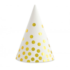 Papírové kloboučky bílé se zlatými tečkami,6ks