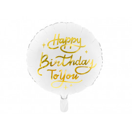 Balon foliový Happy Birthday TY 35cm Bílý