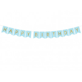 Girlanda-Banner Happy Birthday,15x175cm, modrý