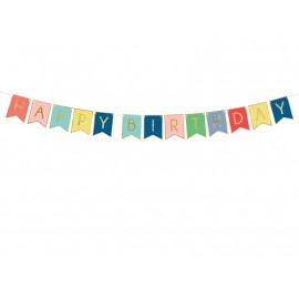 Girlanda-Banner Happy Birthday,15x175cm, mix barev