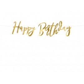 Girlanda-Banner papírový Happy Birthday,zlatý,16x62cm