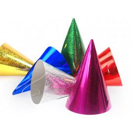 Party kloboučky holografické, mix 6 barev