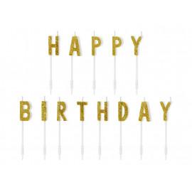 Narozeninové svíčky Happy Birthday, zlaté, 2,5cm,13ks