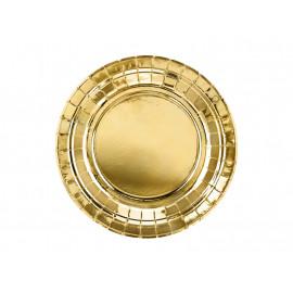 Papírové talířky, Zlaté,18cm,6ks