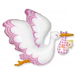 Balon foliový Čáp Baby Girl 62cm