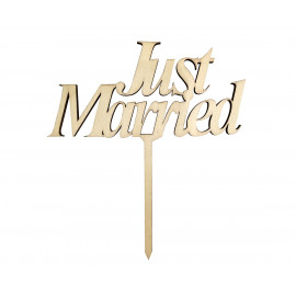 Dortový zápich Just Married, 13 x 14 cm, dřevo